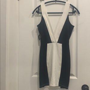 NWT deep v black + white Nasty Gal Dress